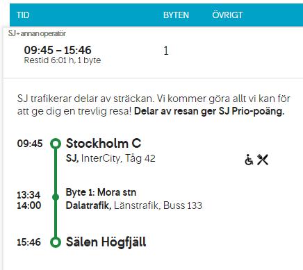 Smidig resa från Stockholm till Sälen med tåg och buss - restid bara 6 timmar